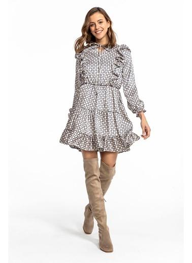 Tiffany&Tomato Fırfırlı Desenli Saten Kısa Elbise-Lacivert Taş